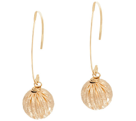 EternaGold 10mm Sparkle Bead Dangle Earrings 14K Gold