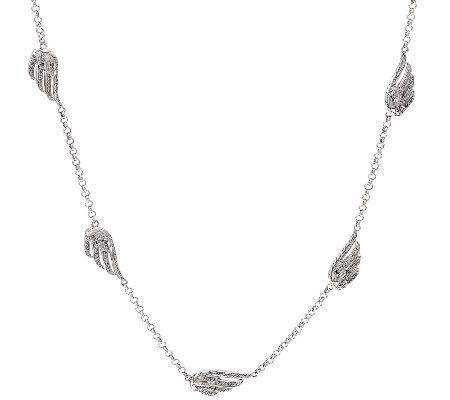 "Angel Wing Diamond Station 24"" Necklace, Sterling, 1/4 cttw, Affinity"