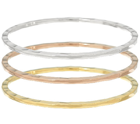 RLM Bronze Tri Color Set of 3 Flat Edge Bangles
