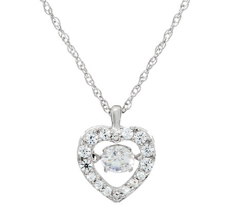Diamonique Twinkle Halo Heart Pendant, Platinum Clad