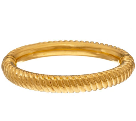 Oro Nuovo Average Ribbed Oval Hinged Bangle Bracelet, 14K