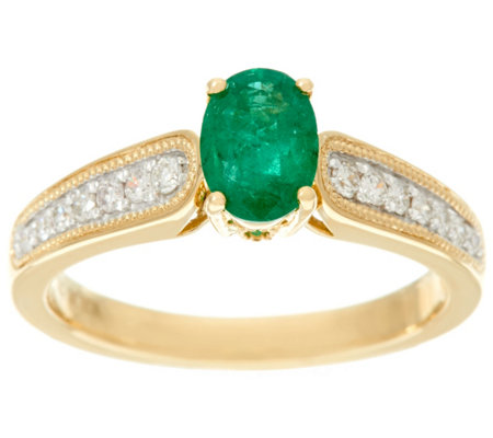 Oval Zambian Emerald & Diamond Ring 14K Gold 0.60 cttw