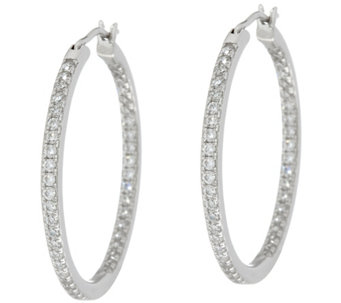 Diamonique Pave' Hoop Earrings, Sterling - J330449