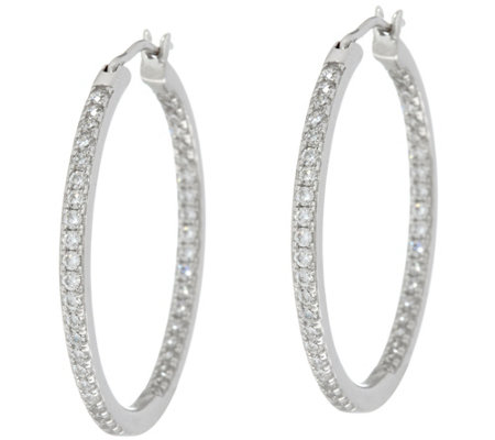 Diamonique Pave' Hoop Earrings, Sterling