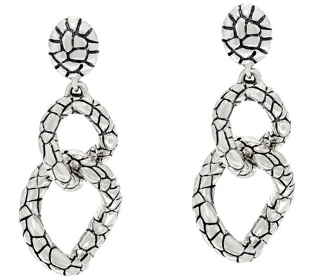 JAI Sterling Silver Two Link Croco Texture Drop Earrings