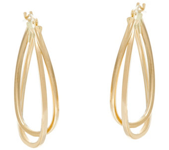 Polished Double Oval Twisted Hoop Earrings 14K Gold - J331349