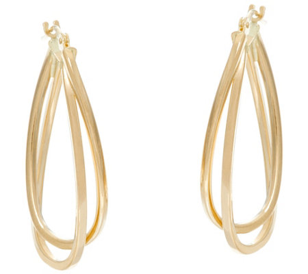 Polished Double Oval Twisted Hoop Earrings 14K Gold