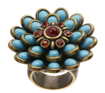 """As Is"" Fern Mallis Cabochon Flower Ring - J331849"