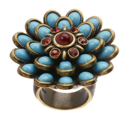 """As Is"" Fern Mallis Cabochon Flower Ring"