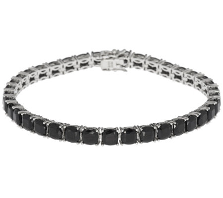 """As Is"" 19.00 ct tw Black Spinel Cushion Cut 8"" Sterling Tennis Bracelet"