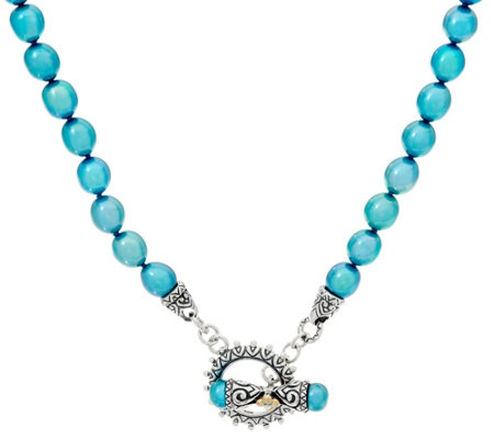 Barbara Bixby Sterling/18K Teal Cultured Freshwater Pearl Necklace