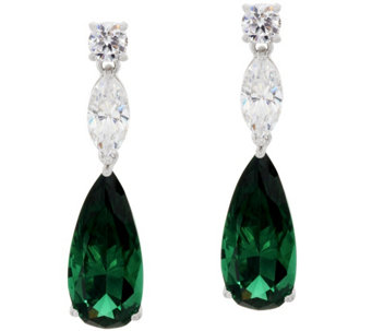 """As Is"" The Elizabeth Taylor 10.80 cttw Simulated Emerald Earring - J333249"