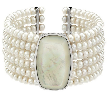 """As Is"" Honora Cultured Pearl Wide Mother-of- Pearl Multi-Row Cuff"