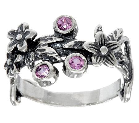 Or Paz Sterling Silver Colors of Sapphire Floral Ring