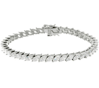 Diamonique Marquise Cut Tennis Bracelet Sterling or 14K Clad - J333649