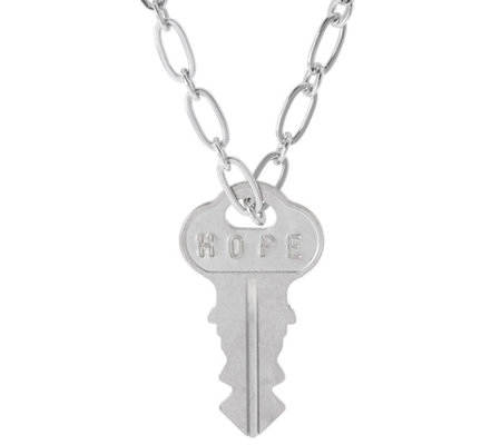 "The Giving Keys Silvertone 'HOPE' Key Pendant w/ 30"" Dainty Chain"