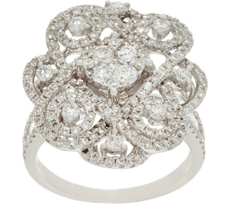 """As Is"" Round White Diamond Cocktail Ring 14K, 1.50 cttw by Affinity"