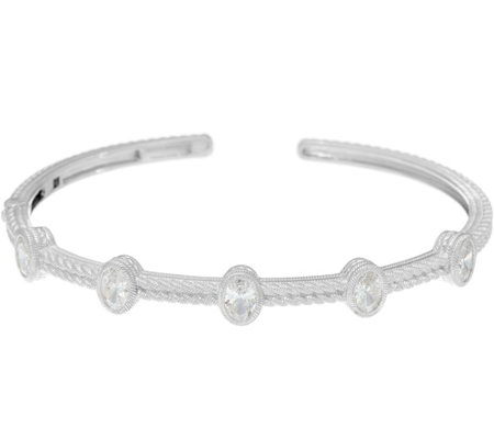 Judith Ripka Sterling Diamonique Station Cuff Bracelet