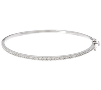 """As Is"" Diamonique Oval Hinged Bangle Bracelet, Sterling - J335749"