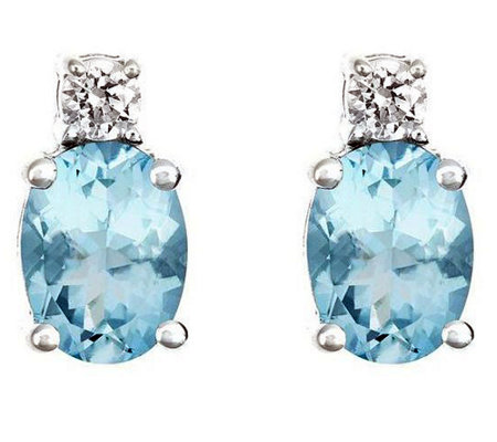 Premier 1.10cttw Aquamarine & 1/8cttw Diamond Earrings, 14K