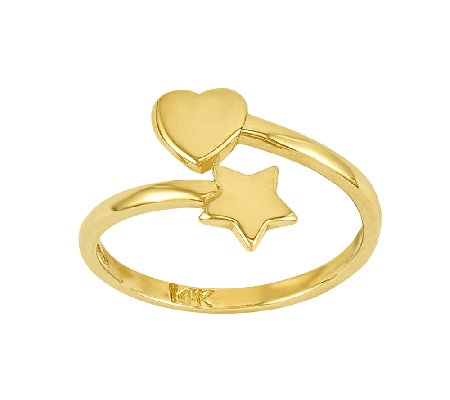 Polished Heart & Star Wrapped Toe Ring, 14K Gold