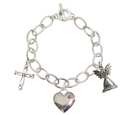 Catherine Galasso Cross, Heart, and Angel CharmBracelet