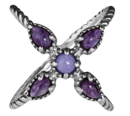 Carolyn Pollack Sterling Silver Gemstone X-Design Ring