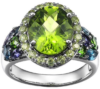 5.50cttw Multi-Gemstone Halo Ring, Sterling - J338549