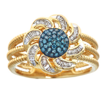 Blue & White Diamond Flower Ring, 3/10cttw, 14K, by Affinity - J339249
