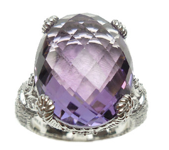 Judith Ripka Sterling Silver 13.70cttw Oval Ame thyst Ring - J339549