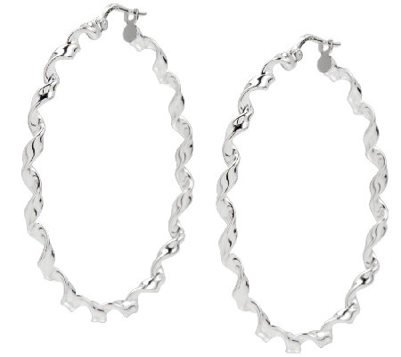 "UltraFine Silver 1-3/4"" Round Twisted Hoop Earrings"