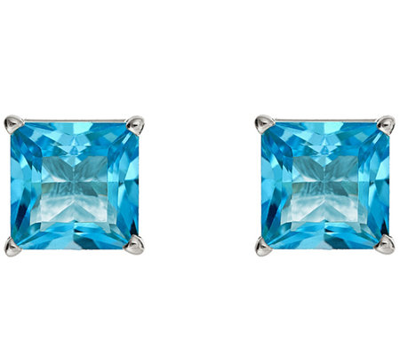 2.90cttw Blue Topaz Princess-Cut Basket Stud Earring, Sterling