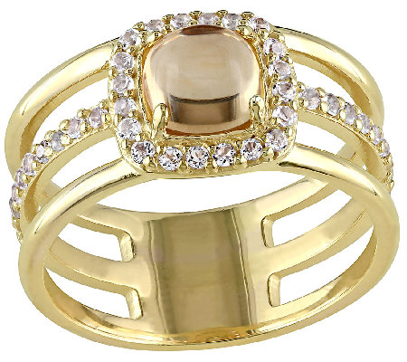 Citrine & White Topaz Triple Row Ring, Sterling/14K Plated