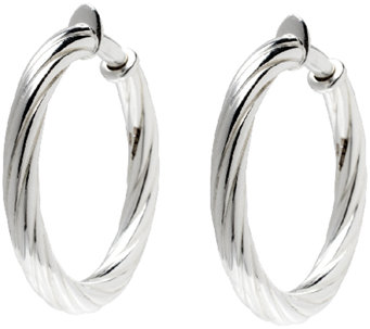 "UltraFine Silver 1-1/2"" Twisted Clip-On Hoop Earrings - J340949"