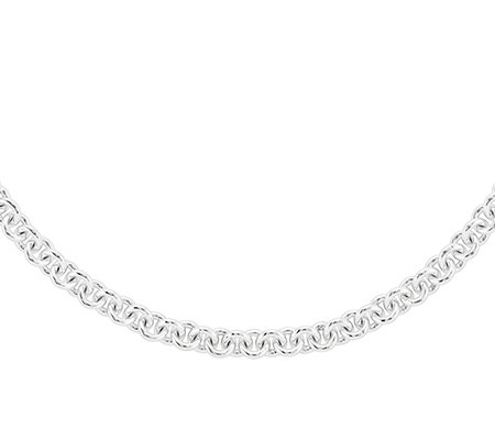 "Sterling Solid Bold Rolo Link 18"" Necklace"
