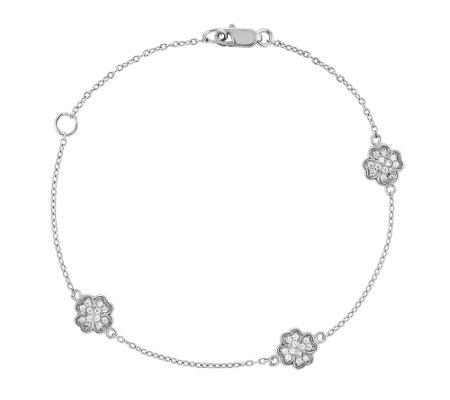 "Sterling Four-Leaf Crystal Clover 7"" Bracelet"