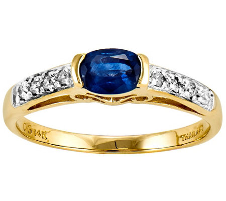 Sapphire & Diamond Accent Bezel Ring, 14K Yello w Gold