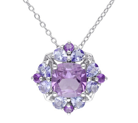 2.95 cttw Amethyst & Tanzanite Pendant w/Chain,Sterling