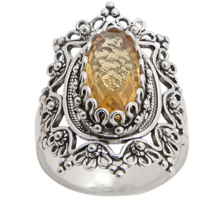 Artisan Crafted Sterling Filigree Gemstone Ornate Ring