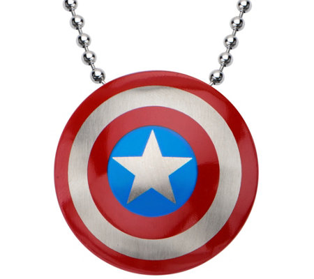 Marvel Stainless Steel Captain America Logo Pendant w/ Chain