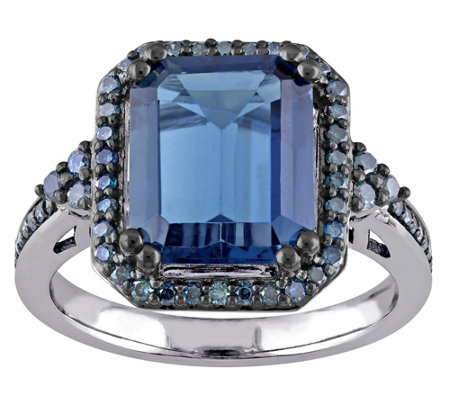 5.20 ct London Blue Topaz & 3/10 cttw Blue Diamond Ring, 14K