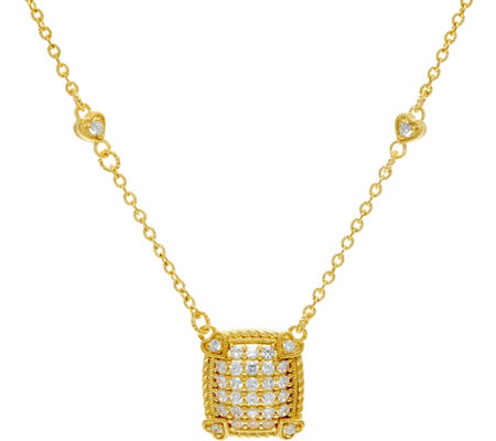 Judith Ripka Sterling & 14K Clad Pave' Diamonique Necklace