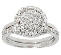 White Diamond Interlocking Ring, Sterling 1/2 cttw by Affinity - J347749