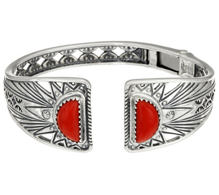 Red Coral Sterling Silver Sun Ray Hinge Cuff by American West