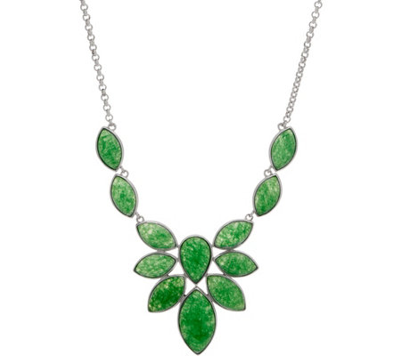 Multi-Cut Jade Sterling Silver Statement Necklace