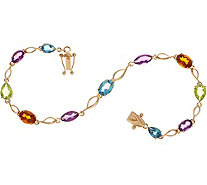"Multi-Cut Gemstone 7-1/4"" Tennis Bracelet 14K Gold - J349749"