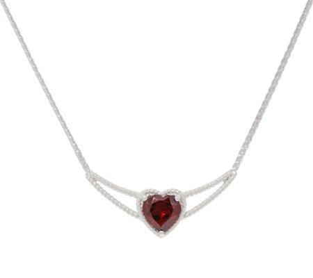 Heart Shape Gemstone Necklace, 2.50 cttw, Sterling Silver