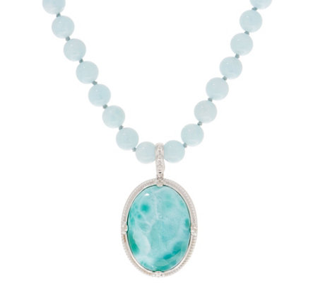 Opaque Gemstone Bead & Cabochon Necklace & Enhancer Set Sterling