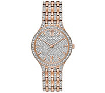 Bulova Women's Rosetone Crystal Watch with PaveDial - J375149