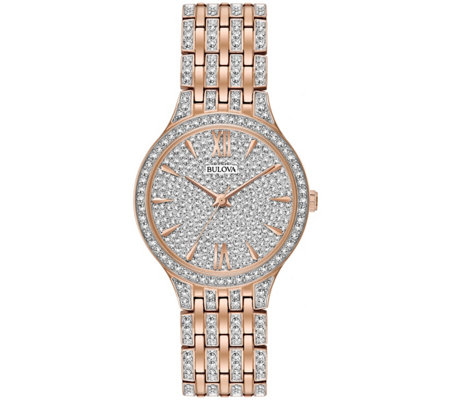 Bulova Women's Rosetone Crystal Watch with PaveDial